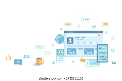 Social media network, online internet communication. Website page social Interface. Mobile and computer user screens, home page.   Raster copy