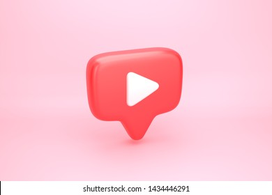 Social media notification icon. Red message bubble with play video button symbol. 3D illustration