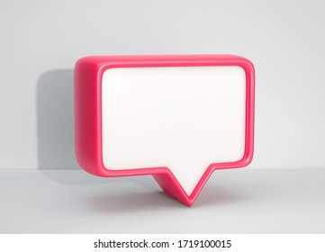 Social media notification icon, red bubble speech on gray background. 3D rendering