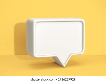 Social media notification icon, white bubble speech on yellow background. 3D rendering
