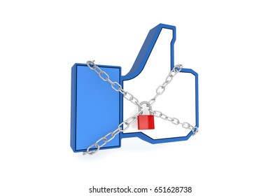Social media thumbs up LIKE button with chains and padlock. Social media censorship and access restrcitions. Freedom of speech ban concept. 3D Illustration.