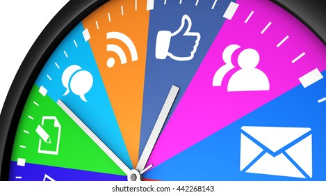 Social media time management and networking concept with a clock and icons printed in multiple colors 3D illustration.