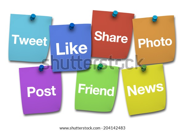 Social media, web and Internet concept with social networks words and sign on colorful paper post it isolated on white background.