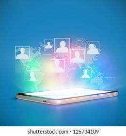 Social Network cloud Tablet PC concept 3D