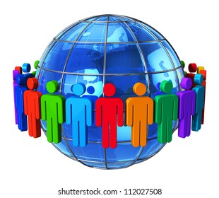 Social network, communication and media concept: group of color human figures around blue glossy Earth globe isolated on white background
