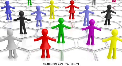 Social network concept. Colorful human figures isolated on white background. 3d illustration