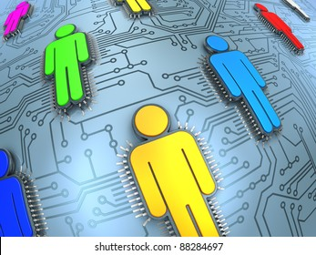 Social network concept. Printed circuit with human silhouette microchips.