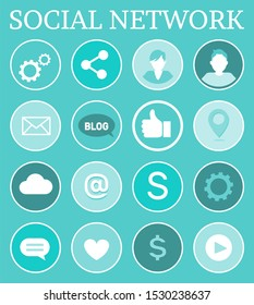 Social network networking isolated icons set with people and signs. Thumb up, gears tools, message and heart, dollar American money currency raster