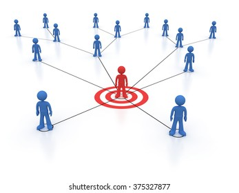 Social network one red character