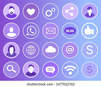 Social network set of isolated icons. People and heart like, chatting box and message. Magnifying glass search engine and wifi connection sign raster