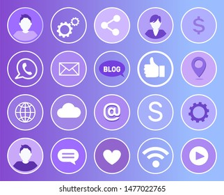 Social network signs and isolated line art icons set. Man and gears, globe and dollar money, thumb up like. Wifi and heart, cloud and chat box raster
