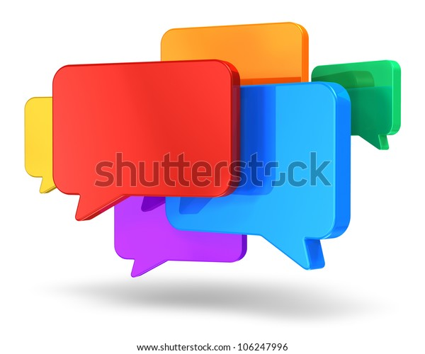 Social networking media, chat, messaging and communication concept: group of glossy colorful speech bubbles isolated on white background