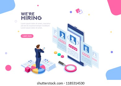 Social presentation for employment. Infographic for recruiting. Web recruit resources, choice, research or fill form for selection. Application for employee hiring. flat isometric illustration.