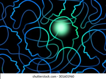 Social psychology concept as a group of connected network of people icons with one individual brain illuminated as a symbol for sociology and group interaction.
