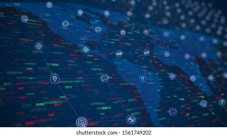 Social world network connections. Business illustration of world statistics with floating global data on world map background. Update world data statistics. High Quality background with counters