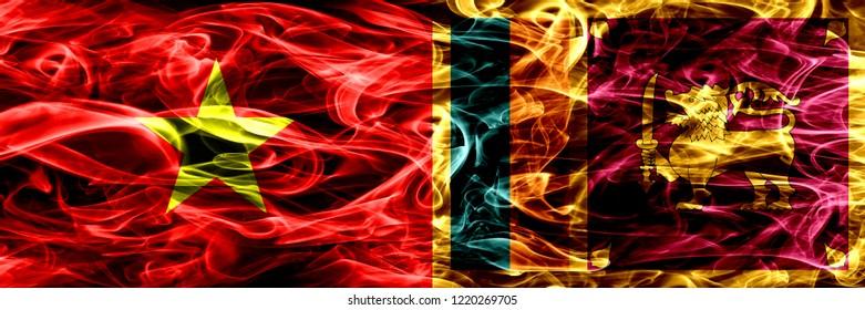 Socialist Republic of Viet Nam vs Sri Lanka, Sri Lankan smoke flags placed side by side. Thick colored silky smoke flags of Vietnam and Sri Lanka, Sri Lankan