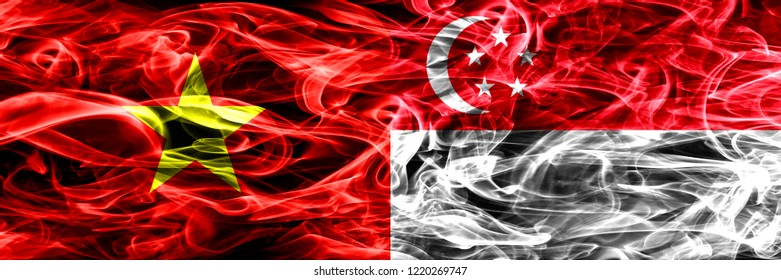Socialist Republic of Viet Nam vs Singapore, Singaporean smoke flags placed side by side. Thick colored silky smoke flags of Vietnam and Singapore, Singaporean