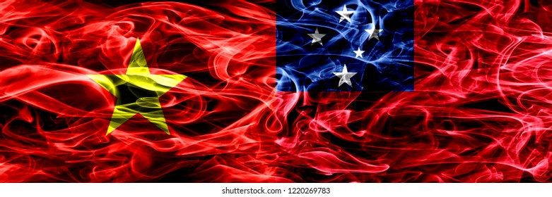 Socialist Republic of Viet Nam vs Samoa, Samoan smoke flags placed side by side. Thick colored silky smoke flags of Vietnam and Samoa, Samoan