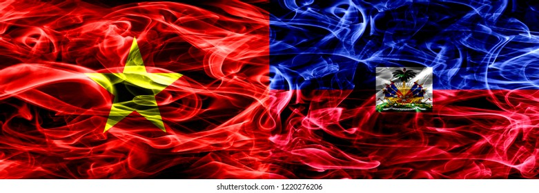 Socialist Republic of Viet Nam vs Haiti, Haitian smoke flags placed side by side. Thick colored silky smoke flags of Vietnam and Haiti, Haitian