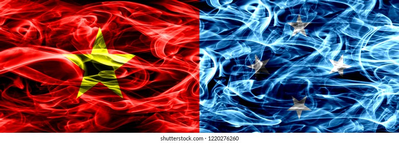 Socialist Republic of Viet Nam vs Micronesia, Micronesian smoke flags placed side by side. Thick colored silky smoke flags of Vietnam and Micronesia, Micronesian