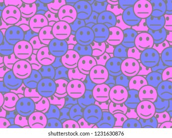 Society decoration. Simple pattern. Throng containing amusing emotions.