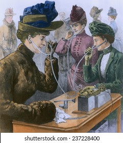 Society ladies using earphones to listen to a phonograph at the St Valentine's Market on Fifth Avenue New York City February 1889.