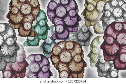 Society and time as a sociology or social development concept as a group of clocks shaped as a group of diverse people as a diversity symbol as a 3D illustration.