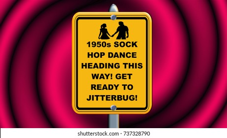 Sock hop dance heading this way, yellow sign on pink background.