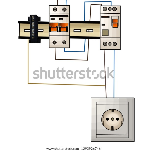 Socket Switch Connected Wires Drawing Wire Stock ... on switch to switch wiring, switch to plug wiring, switch to light wiring,
