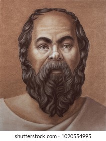 Socrates an ancient Greek philosopher. Hand drawing portrait by pastel in brown color.
