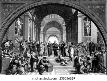 Socrates (center, left), at the school of Athens, 400 BC, Engraving after painting by Raphael,