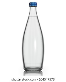 Soda water in glass bottle isolated on white background. Frontal view, blank for label. 3d.