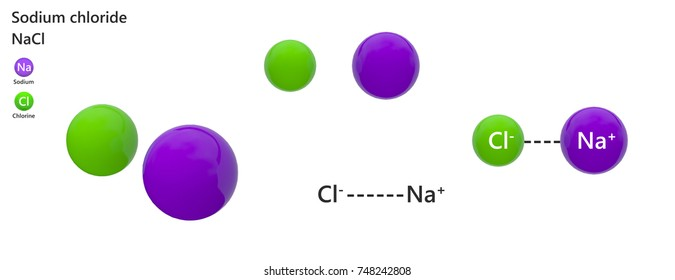 Sodium chloride (formula NaCl or ClNa) is a ubiquitous sodium salt that is commonly used to season food. 3d illustration. The molecule is represented in different structures.