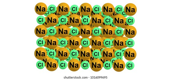 Sodium chloride is an ionic compound with the chemical formula NaCl, representing a 1 to 1 ratio of sodium and chloride ions. 3d illustration
