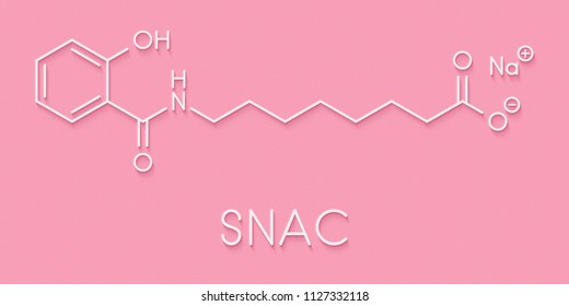 Sodium salcaprozate (SNAC, sodium N-[8-(2-hydroxybenzoyl)amino] caprylate) oral absorption promoter. Used to increase the bioavailability of macromolecules. Skeletal formula.