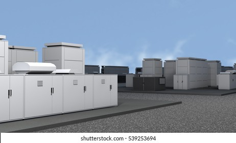 Sodium-Sulfur so called NAS Battery Park Photorealistic 3D Illustration