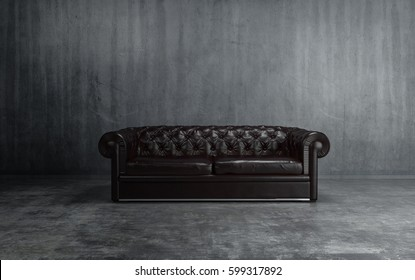 Sofa of black leather standing in center on concrete floor against dark grey wall with copy space. 3d Rendering.