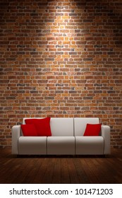 Sofa with brickwall and light from above