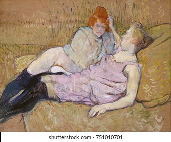The Sofa, by Henri de Toulouse-Lautrec, 1894-96, French Post-Impressionist, oil on canvas cardboard. Two prostitutes identified as a lesbian couple, lounge on a sofa. Between 1892 and 1896, Lautrec ma