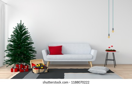 sofa and christmas tree in living room, 3D rendering