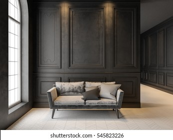 Sofa in classic black interior. 3D render interior mock up.
