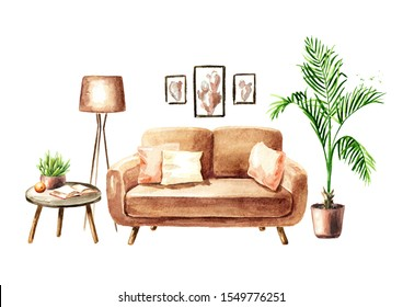 Sofa and a coffee table with a book, an orange and a houseplant. Sweet home concept. Comfort interior. Watercolor hand drawn illustration, isolated on white background