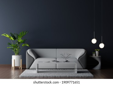 Sofa in dark living room with free space for mockup,3D rendering