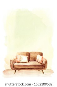 Sofa in front of the empty wall, Interior or renovation concept. Watercolor hand drawn illustration with copy space