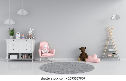 Sofa in gray child room interior, 3D rendering