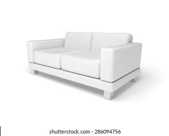 Sofa isolated on white empty floor background, 3d illustration, perspective view
