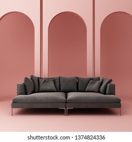 Sofa L shape and pastel pink arch wall in interior space. 3d render