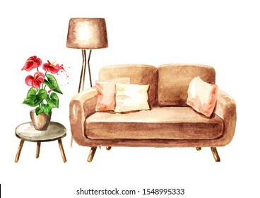 Sofa, lamp and  houseplant. Sweet home concept. Comfort interior. Watercolor hand drawn illustration, isolated on white background