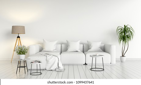 sofa modular and lamp in white living room interior, 3D rendering