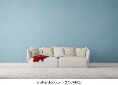 Sofa on a blue wall in living room with space for canvas (3D Rendering)